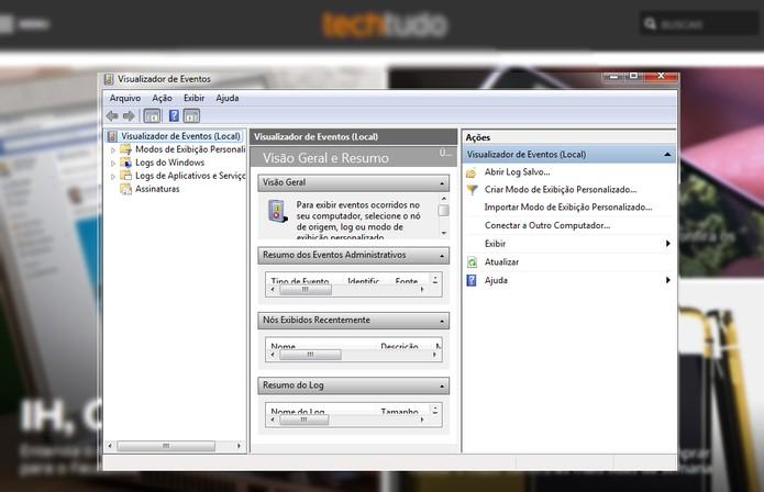 Visualizador de eventos (Foto: Reprodução/TechTudo)