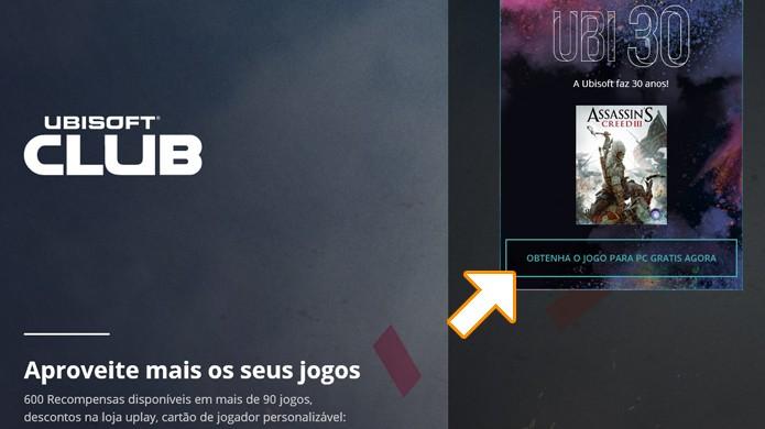 Vá no site do Ubisoft Club e clique em Obtenha o jogo para PC grátis agora a partir de 7 de dezembro (Foto: Reprodução/Rafael Monteiro)