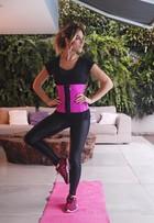 Giovanna Ewbank mostra cintura perfeita ao usar cinta para malhar