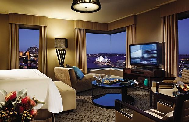 A Ópera de Sydney é um dos principais símbolos da Austrália. A vista perfeita do monumento fica na cobertura do Four Seasons Hotel Sydney (Foto: Divulgação)