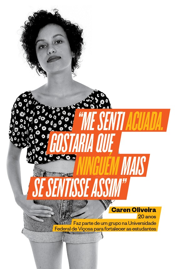 A universitária Caren Lopes Oliveira, de 20 anos, participa de um grupo de mulheres em Viçosa (MG) para denunciar o assédio às mulheres (Foto: Pro fotos Viçosa MG/ÉPOCA)