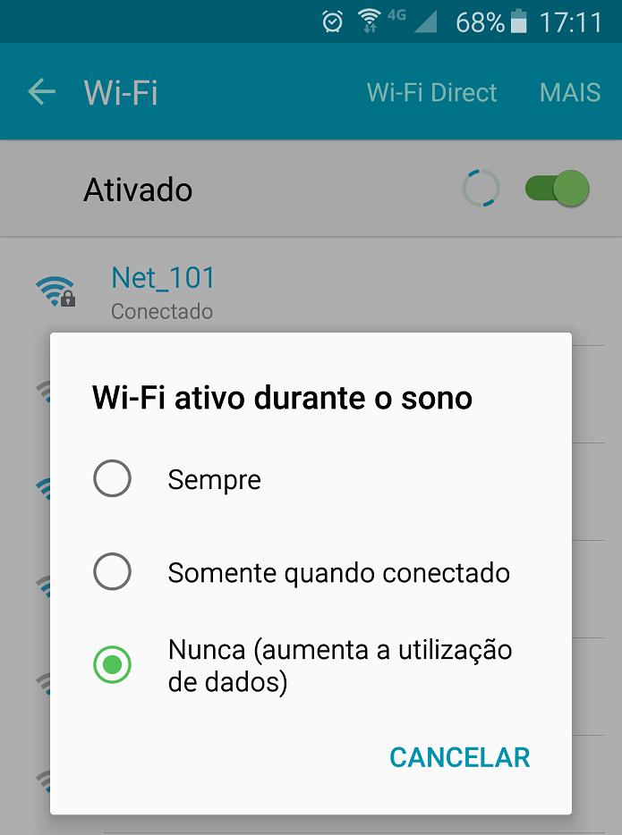 WiFi ativo somente quando você estiver conectado e utilizando o telefone