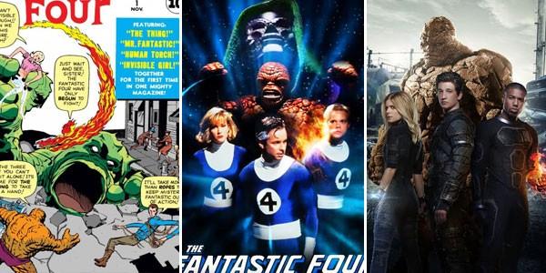 Quarteto Fantástico nos quadrinhos (1961), no cinema independente (1994) e no grande circuito (2015) (Foto: Divulgação)