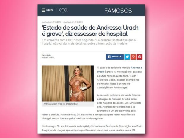 Andressa Urach é internada em estado grave na UTI (Foto: Reprodução/ Internet)