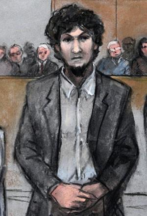 Ilustração feita no tribunal, que não permitia fotos, mostra Dzhokhar Tsarnaev no momento em que era lida  a sentença de pena de morte por injeção (Foto: Jane Flavell Collins/AP)