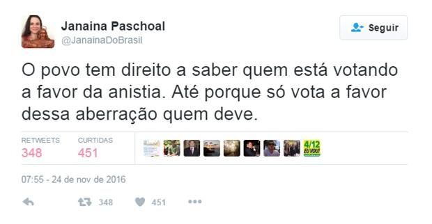 Janaina Paschoal comenta anistia ao caixa 2 no twitter (Foto: Reprodução/Twitter/@JanainaDoBrasil)