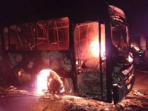 Além de ônibus, manifestantes de Suzano atearam fogo em caminhões e carros de passeio (Foto: Douglas Campos/ TV Diário)
