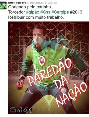 Rafael Córdova, twitter, Sergipe (Foto: Reprodução/Twitter)