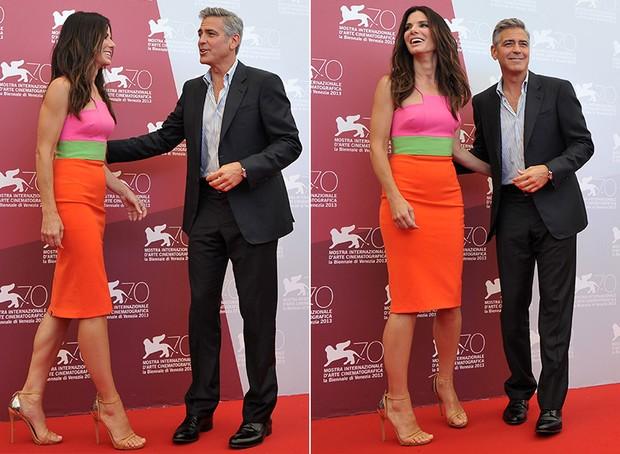Sandra Bullock e George Clooney no Festival de Veneza (Foto: AFP / Agência)