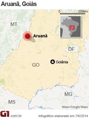 Mapa Aruanã, Goiás (Foto: Arte/G1)