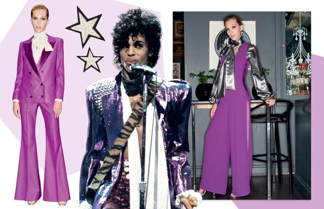 """Prince: Looks do verão 2017 da Racil, inspirado em ídolos do rock, e broches da coleção (Foto: Reprodução Clipe """"life On Mars"""" De Mick Rock, Ebet Roberts/getty Images, Neville Hopwood/Getty Images e Divulgação)"""