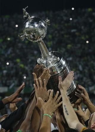 Atlético Nacional comemora título da Libertadores diante do Independiente del Valle (Foto: Dolores Ochoa/AP)