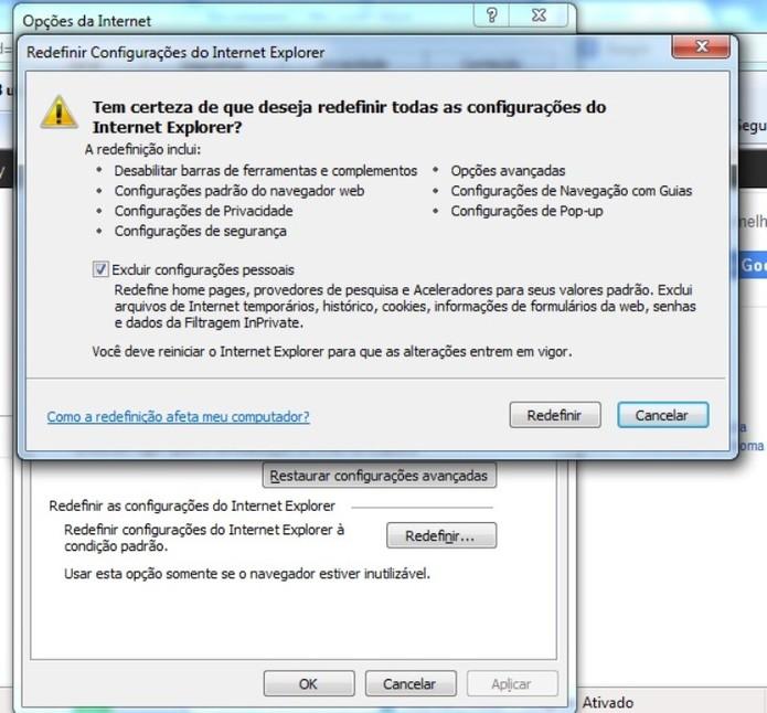 Remova malware do IE (Foto: Reprodução / Laura Martins)