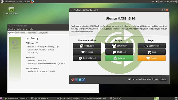 Ubuntu MATE é mais completo do que o Raspbian (Foto: Reprodução/Filipe Garrett)