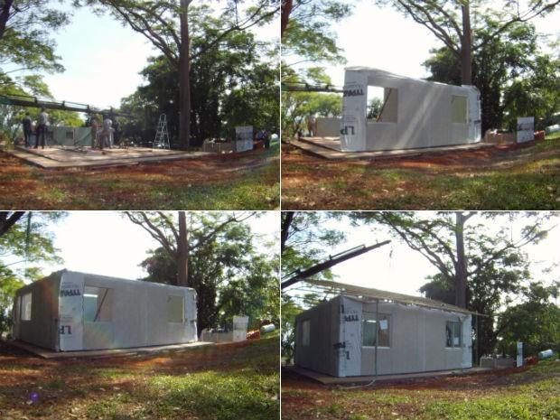 Paredes e estrutura do telhado foram erguidas em menos de três horas (Foto: Rodrigo Saviani/G1)