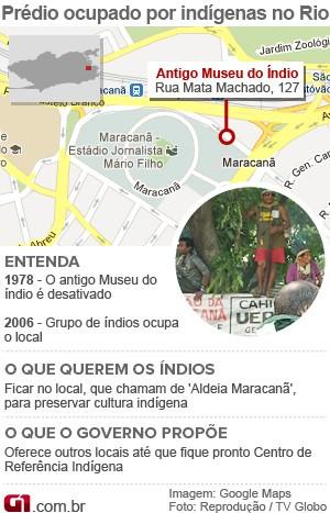 Vale Este: Mapa e arte do Museu do Índio do Rio (Foto: Arte/G1)