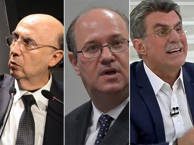 A nova equipe econômica do governo Temer: Henrique Meirelles (Fazenda), Ilan Goldfajn (BC) e Romero Jucá (Planejamento) (Foto: Wilson Dias/Valter Campanato/Agência Brasil/Reprodução TV Cultura)