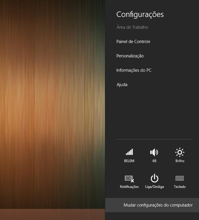 Acesse as configurações do sistema na barra de atalhos na lateral (Foto: Reprodução/Paulo Alves) (Foto: Acesse as configurações do sistema na barra de atalhos na lateral (Foto: Reprodução/Paulo Alves))
