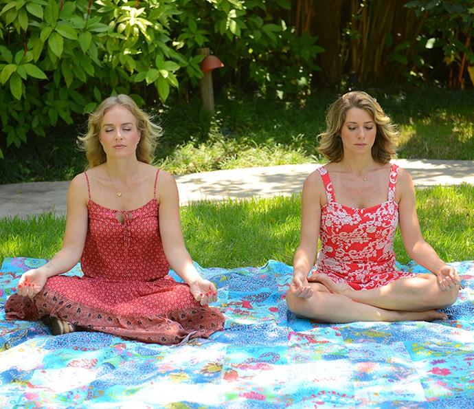 Angélica e Letícia Spiller fazem ioga (Foto: Pedro Carrilho/Gshow)