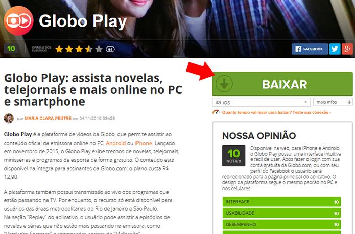 Atualize o Globo Play no iPhone ou  iPad (Foto: Reprodução/Paulo Alves)