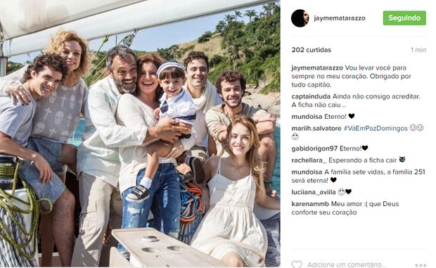 Jayme Matarazzo presta homenagem a Domingos Montagner (Foto: Reprodução/ Instagram)