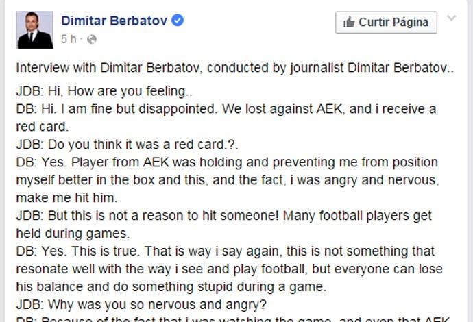 Reprodução facebook Berbatov entrevista - 690 (Foto: Reprodução / Facebook)