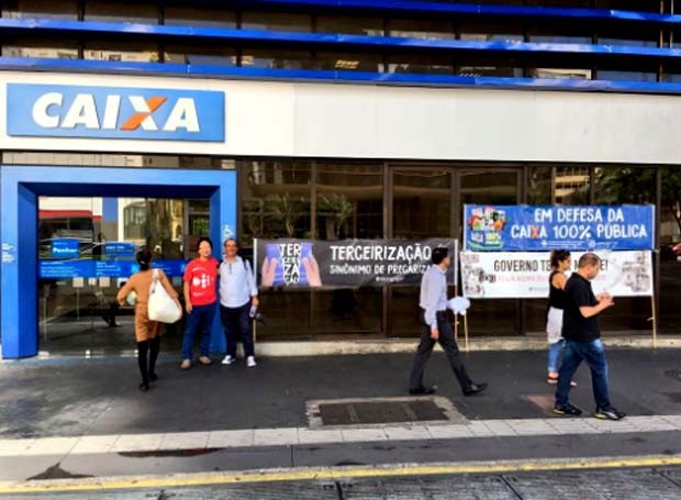 Agência da Caixa na Avenida Paulista fechada durante greve contra o desmonte da Previdência.  (Foto: Reprodução Twitter/Sindicato dos Bancários)