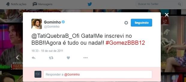 @Gominho (Foto: Reprodução/Twitter)