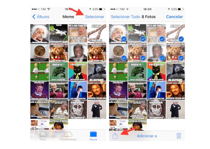 Selecionando imagens da biblioteca do iPhone para salvá-las em um documento PDF (Foto: Reprodução/Marvin Costa)