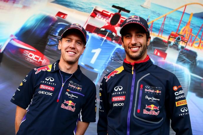 Sebastian Vettel e Daniel Ricciardo no GP da Rússia (Foto: Getty Images)