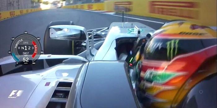 Lewis Hamilton freia para 52 km/h no momento em que Vettel bate