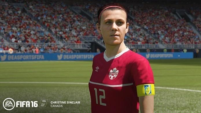 Christine Sinclair, do Canadá, ficou entre as 10 melhores de Fifa 16 (Foto: Divulgação/EA Sports)