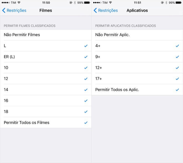 Alterando a classificação indicativa permitida para apps e filmes (Foto: Reprodução/Helito Bijora)