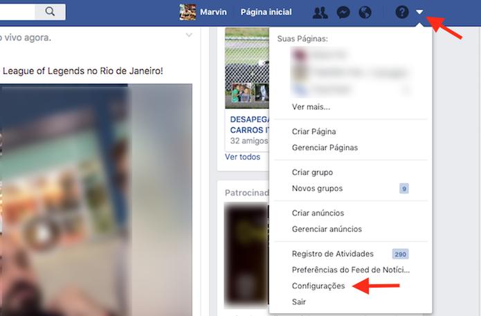 Caminho para acessar as configurações do Facebook  (Foto: Reprodução/Marvin Costa)