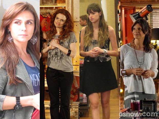 Camisetas de todos os modelos invadem os looks das personagens (Foto: Em Familia/TVGlobo)