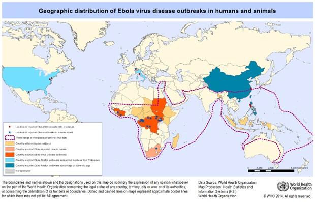 Mapa da Organização Mundial da Saúde mostra distribuição do ebola no mundo (Foto: OMS)