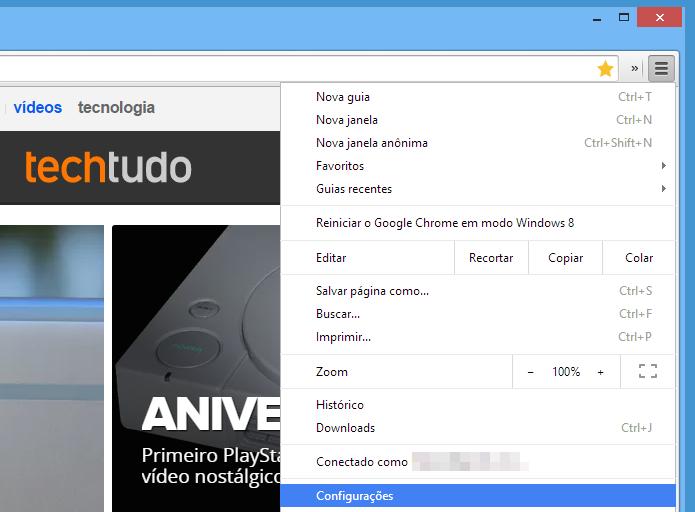 Acesse as configurações do Chrome (Foto: Reprodução/Helito Bijora)