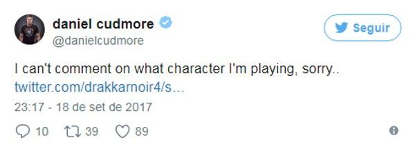 """""""Não posso comentar sobre o personagem que estou interpretando, desculpe..."""", tuitou Cudmore sobre o seu papel na trama (Foto: reprodução/Twitter)"""