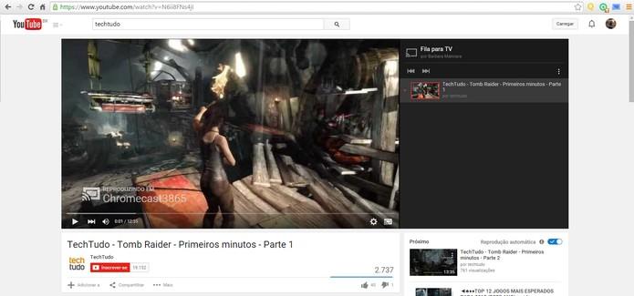 O vídeo será exibido na TV e você pode controlar pelo player no computador (Foto: Reprodução/Barbara Mannara)