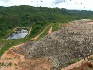 No Lixão de Perema em Santarém, um lago foi formado por chorume (Foto: Reprodução/TV Tapajós)
