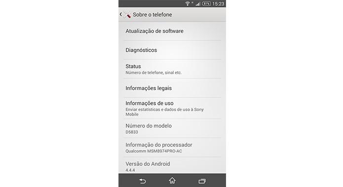 Em Sobre o telefone é possível verificar especificações técnicas do smartphone, além de atualizações do sistema (Foto: Reprodução/Bruno Quevedo)