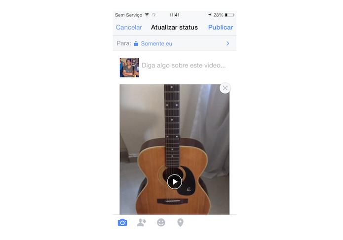 Postando um vídeo gravado com um iPhone ou iPad no Facebook (Foto: Reprodução/Marvin Costa)