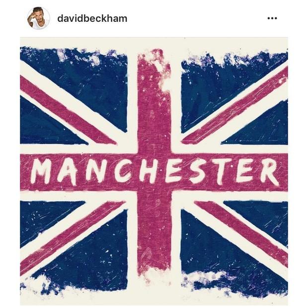 """David Beckham: """"Meu coração está despedaçado com as notícias de Manchester. Como pai e humano, o que aconteceu lá realmente me deixa triste. Meus pensamentos estão com todos aqueles afetados por esta tragédia..."""" (Foto: Instagram/Reprodução)"""