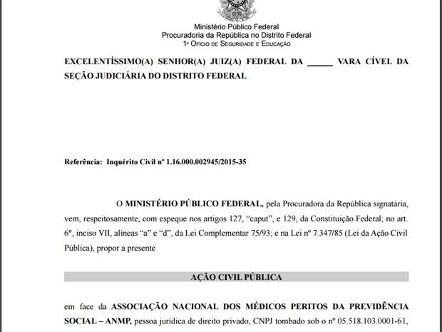 Ação do MPF pedindo à Justiça que associação representando peritos médicos paguem indenização por danos morais (Foto: Reprodução)