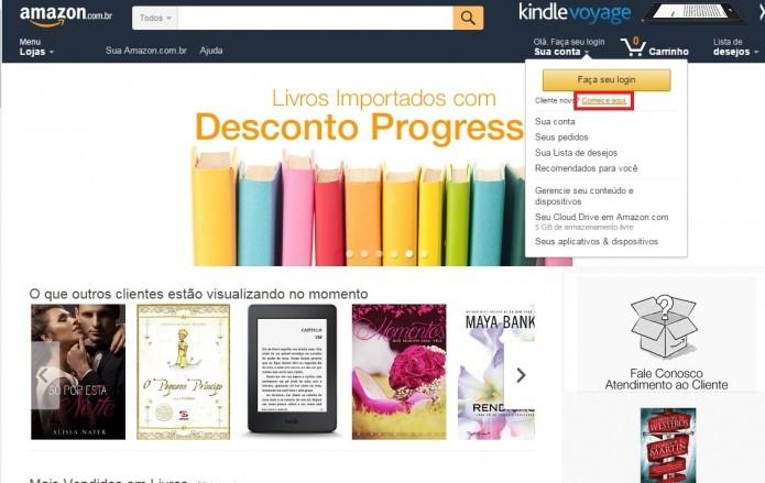 Acesse o site da Amazon e crie uma nova conta (Foto: Reprodução/Paulo Vasconcellos)