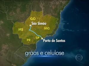 Hidrovia é estratégica para escoamento de grãos de cinco estados (Foto: Reprodução/TV Globo)