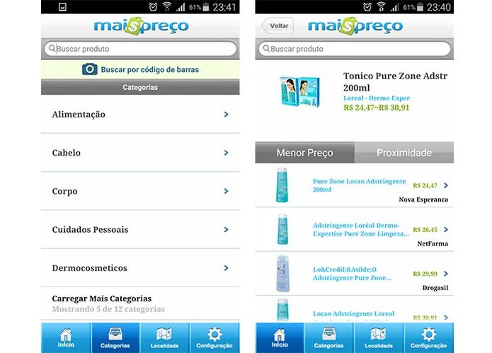 App Mais Preço oferece lista de produtos de farmácia com preço médio (Foto: Reprodução/Barbara Mannara)