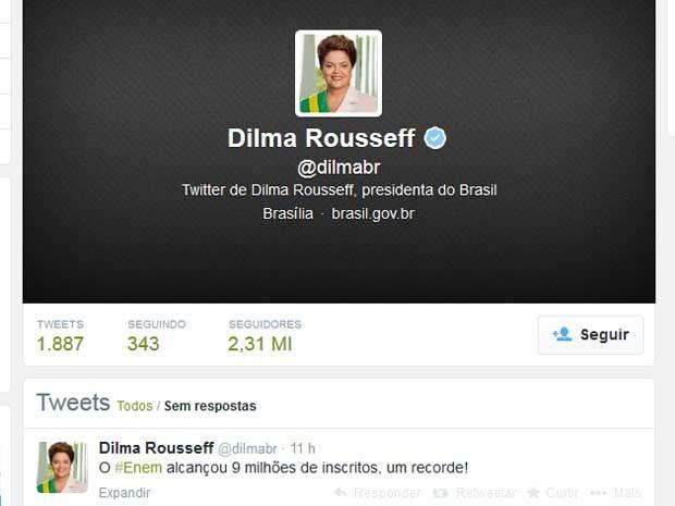 Dilma comentou no 'Twitter' o recorde de inscrições no Enem. (Foto: Reprodução / Twitter da presidente Dilma Rousseff)