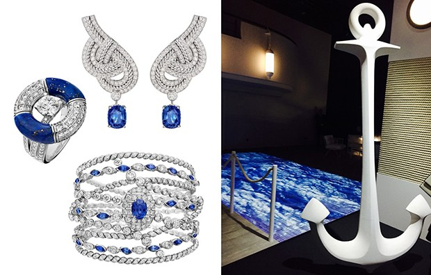 Pieces from Chanel's Flying Cloud high jewellery collection. Left: the Sailor Tattoo cuff in white gold set with sapphires and brilliant-cut diamonds; Middle: a pair of sapphire, diamond and pearl drop earrings; Right: the Endless Knot necklace made of 18-carat white gold set with a 1.52-carat pear-cut diamond, a central Indonesian cultured pearl, Japanese cultured pearls and brilliant-cut diamonds; Bottom: the Golden Braid bracelet in yellow gold set with a 4.22-carat cushion-cut diamond and brilliant-cut diamonds. (Foto: CHANEL)