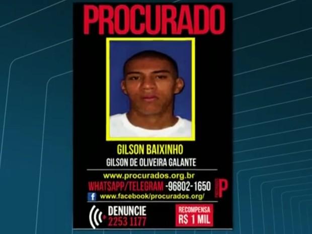 Gilson de Oliveira Galante, conhecido como Gilson Baixinho, é um dos suspeitos de participar da disputa pelo tráfico no Morro do Turano (Foto: Reprodução/TV Globo)